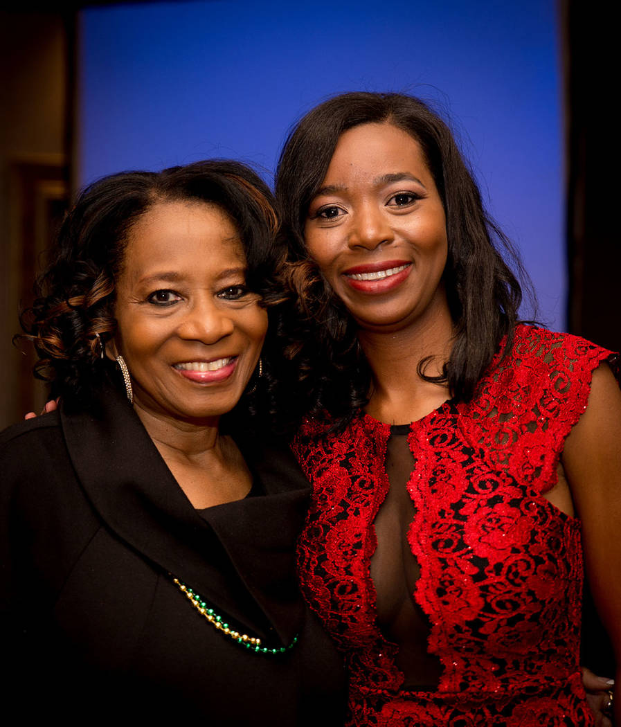 Debbie Conway and Shanta Patton, Nevada Association of Real Estate Brokers president, at the group's Jan. 27 installation dinner at the Suncoast. (Tonya Harvey Las Vegas Business Press)