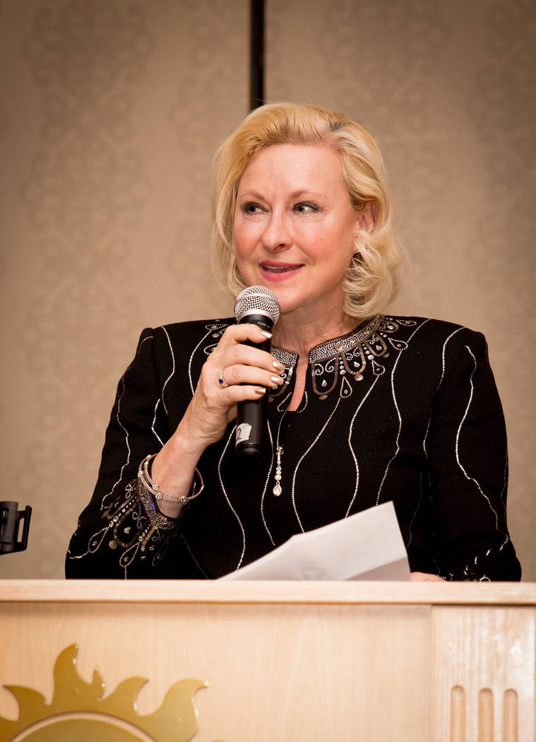 Linda Rheinberger, past regional vice president of the Nevada Association of Realtors and former president of the Greater Las Vegas Association of Realtors, speaks to members of the Las Vegas chap ...