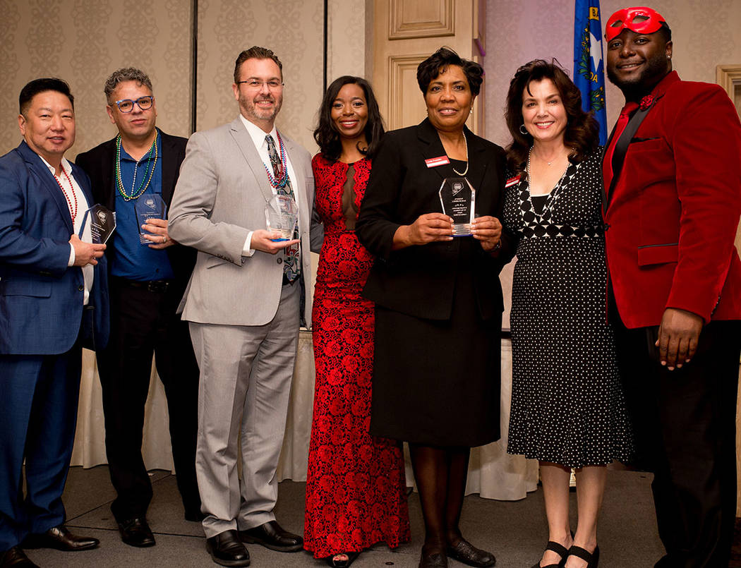 Community partners receive awards from the Nevada Association of Real Estate Brokers at the group's Jan. 27 installation dinner at the Suncoast. (Tonya Harvey Las Vegas Business Press)