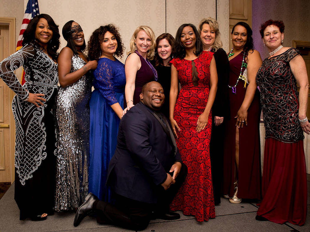 The Nevada Association of Real Estate Brokers board: from left, Lawanda Alston, Jazza Marshall, Veronica Torres, Tamra Coulter, Melanie Evens, Shanta Patton, Marie Harrid, Kathy Freeman, Toni Rocc ...