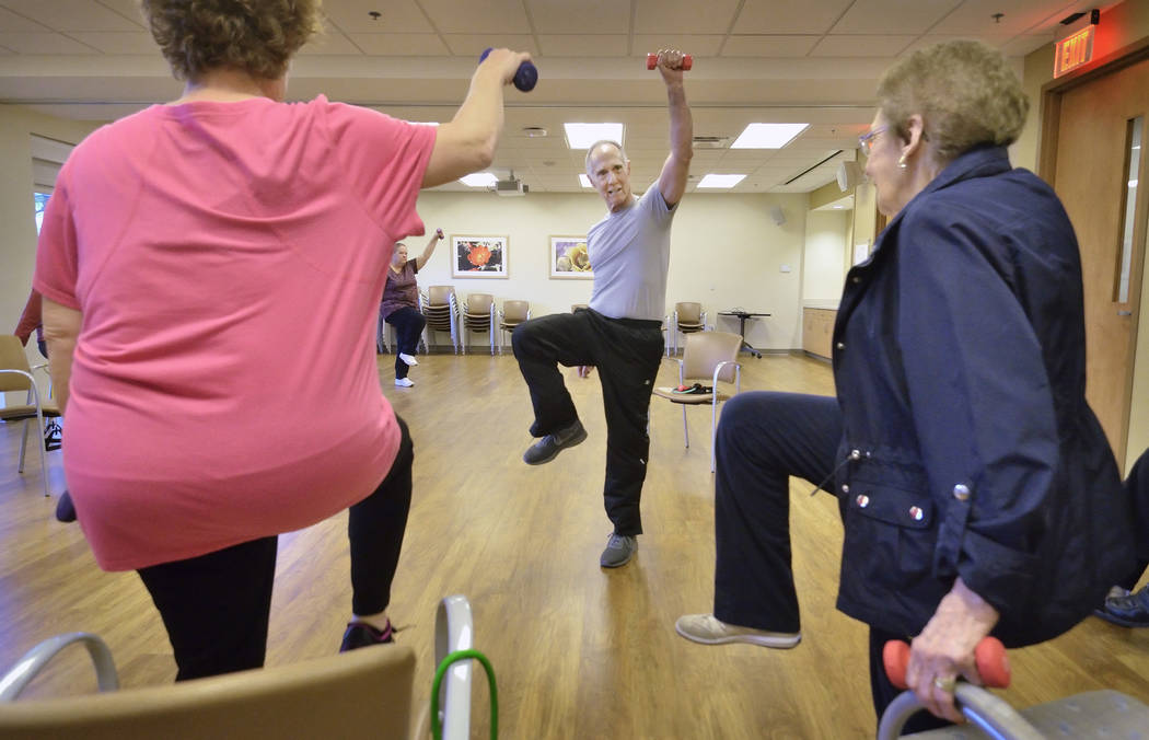 Instructor Bob Rose leads a Silver Sneakers fitness class at the Southwest Medical Lifestyle Center West at  8670 W. Cheyenne Ave. on Jan. 29. (Bill Hughes Business of Medicine)