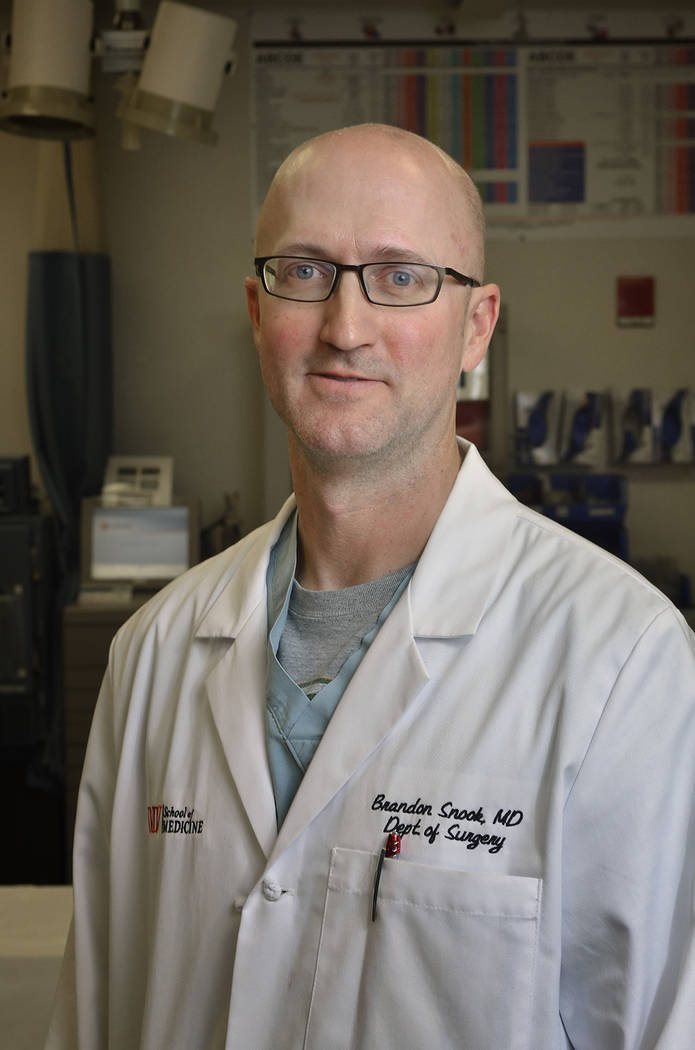 Dr. Brandon Snook, trauma surgeon and director of the Sustained Medical and Readiness Trained (SMART) program at Nellis Air Force Base. (Bill Hughes Business of Medicine)