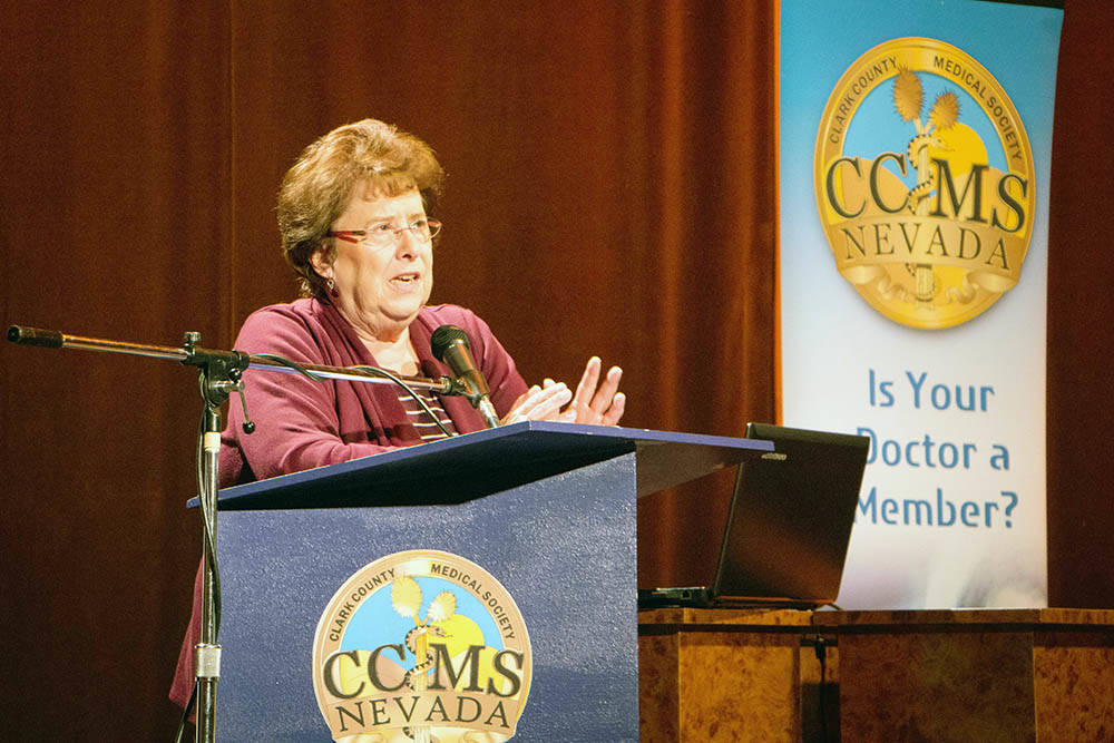 """Dr. Lesley Dickson, executive director of the Nevada Psychiatric Association, addresses more than 90 doctors, medical residents and medical students in a presentation called """"Suicide Prevention: ..."""