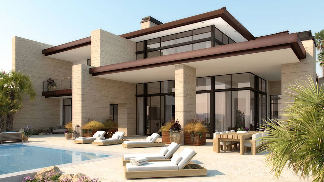 Homes in The Summit Club have started construction. This conceptual artist rendering shows what some of the homes in the exclusive luxury Summerlin community may look like. (The Summit Club)