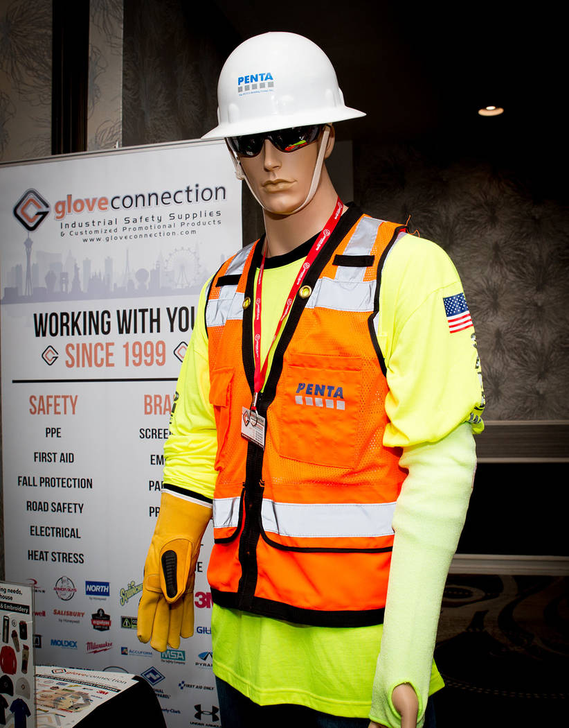 A display booth at Penta Building Group's safety event features gear. (Tonya Harvey Business Press)