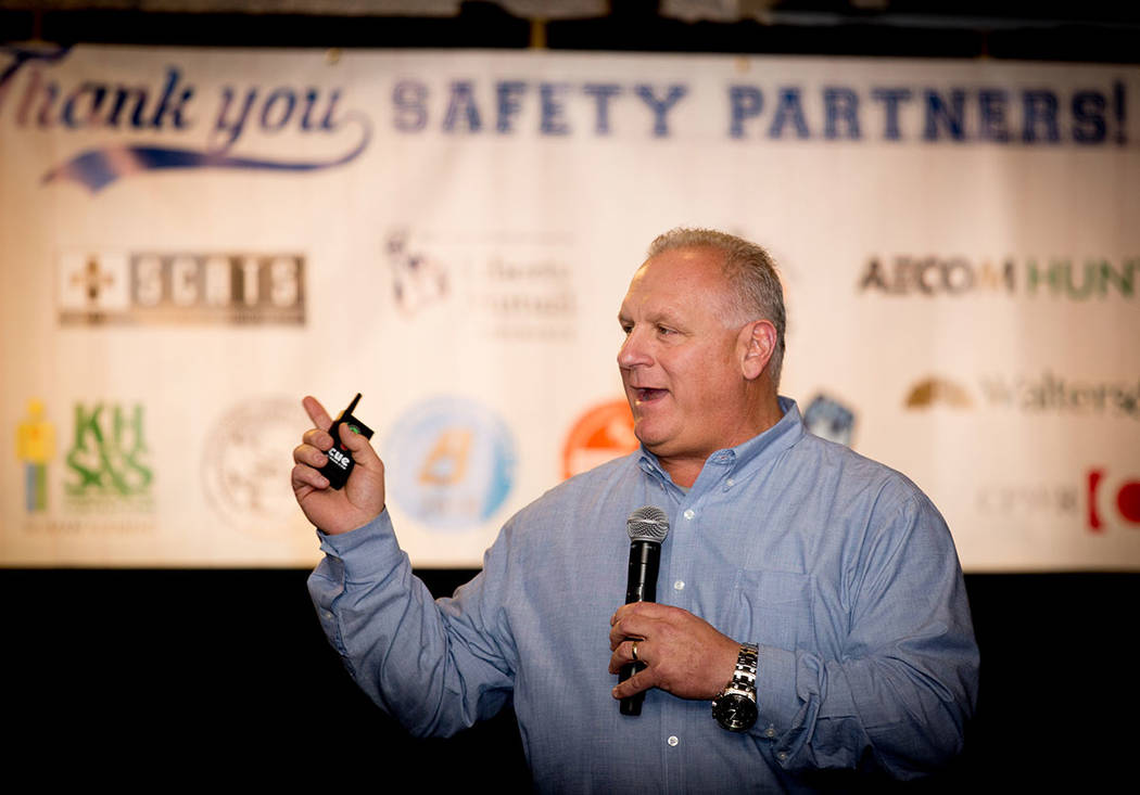 Rodd Weber, safety director, Penta Building Group, speaks at an annual safety event. (Tonya Harvey Business Press)