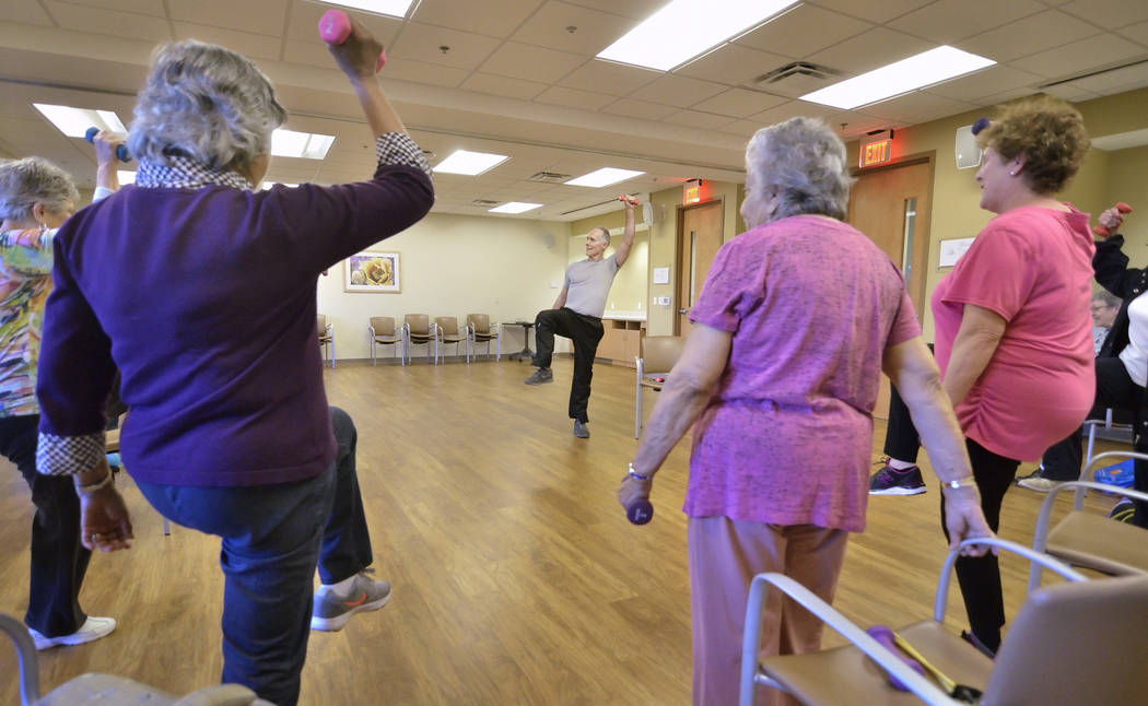 Instructor Bob Rose leads a SilverSneakers fitness class at the Southwest Medical Lifestyle Center West at 8670 W. Cheyenne Ave. on Jan. 29. (Bill Hughes Business of Medicine)