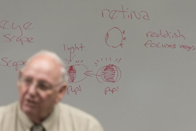 Willis K. Paull, professor of biomedical sciences with Roseman University of Health Sciences, discusses eye anatomy. (Jason Ogulnik Business of Medicine)