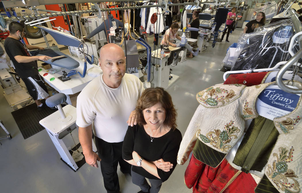 Dan and Judy Del Rossi, owners of Tiffany Couture Cleaners, are shown in the cleaning and pressing area of their business at 5981 McLeod Drive on Feb. 6. (Bill Hughes Las Vegas Business Press)