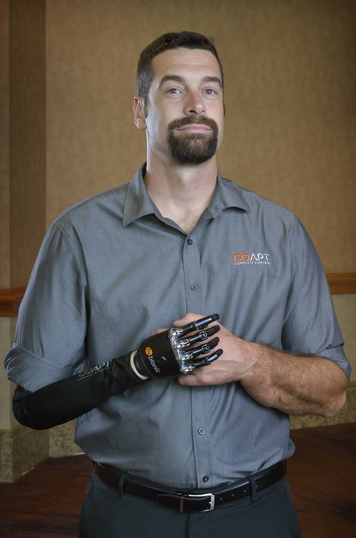 Glen Lehman, a consultant with Coapt, is shown at the American Orthotic & Prosthetic Association convention. (Bill Hughes Las Vegas Business Press)