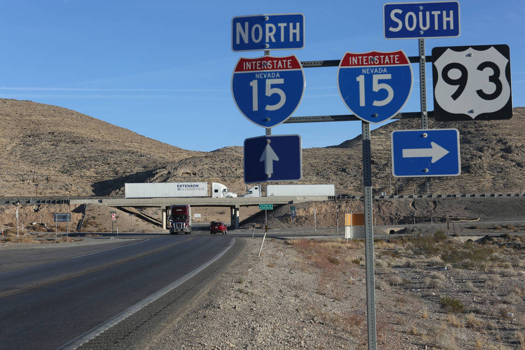 The intersection of Interstate 15 and U.S. Route 93 in Nevada is the proposed site of a new interchange to improve safety and enhance mobility for the Apex Industrial Park in North Las Vegas. (Mic ...