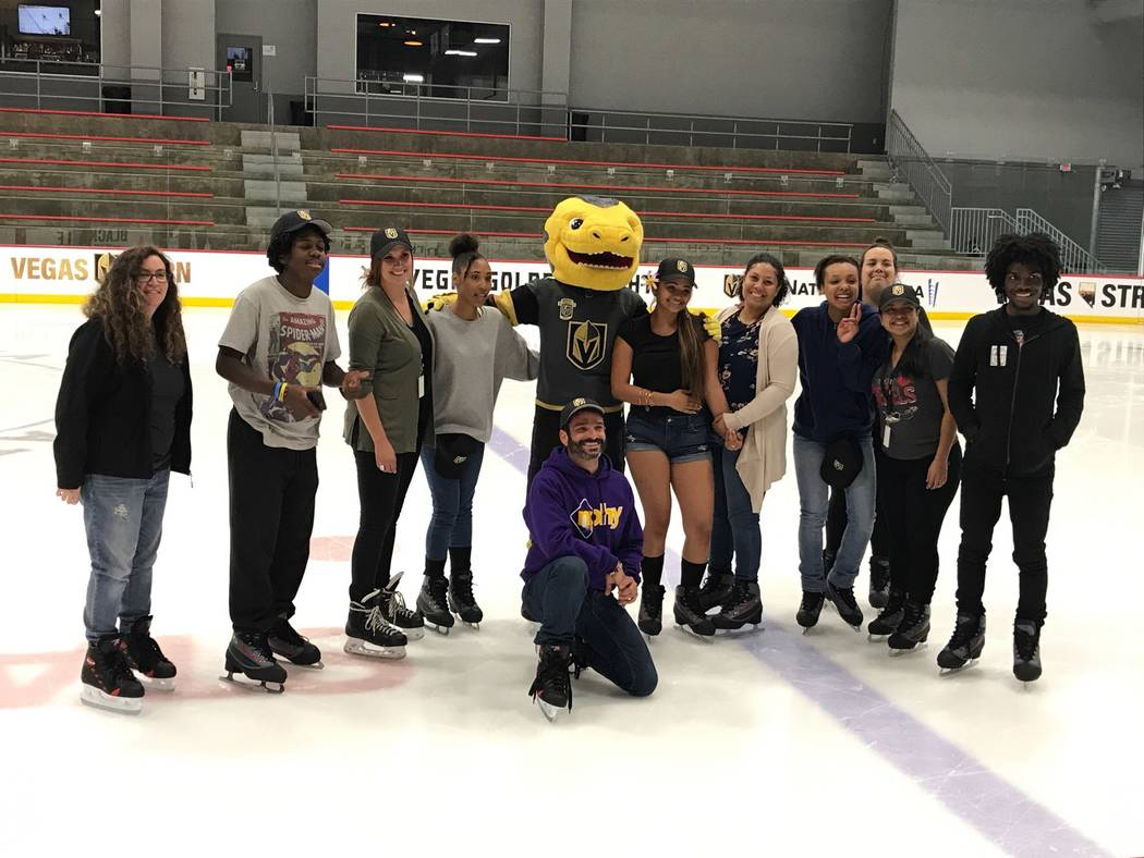 America First Credit Union presented four Clark County teachers each with a $1,000 grant at various Vegas Golden Knight home games. (America First Credit Union)