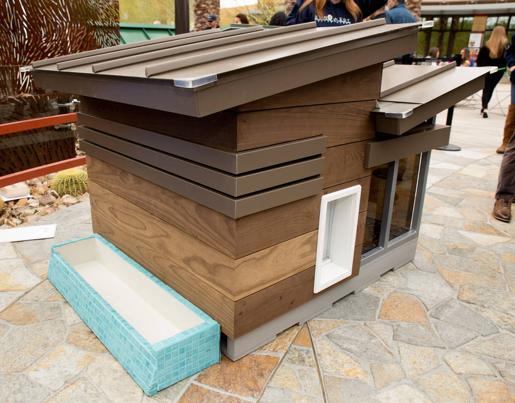This Southwest Custom Homes doghouse comes with an infinity pool.  (Tonya Harvey Las Vegas Business Press)