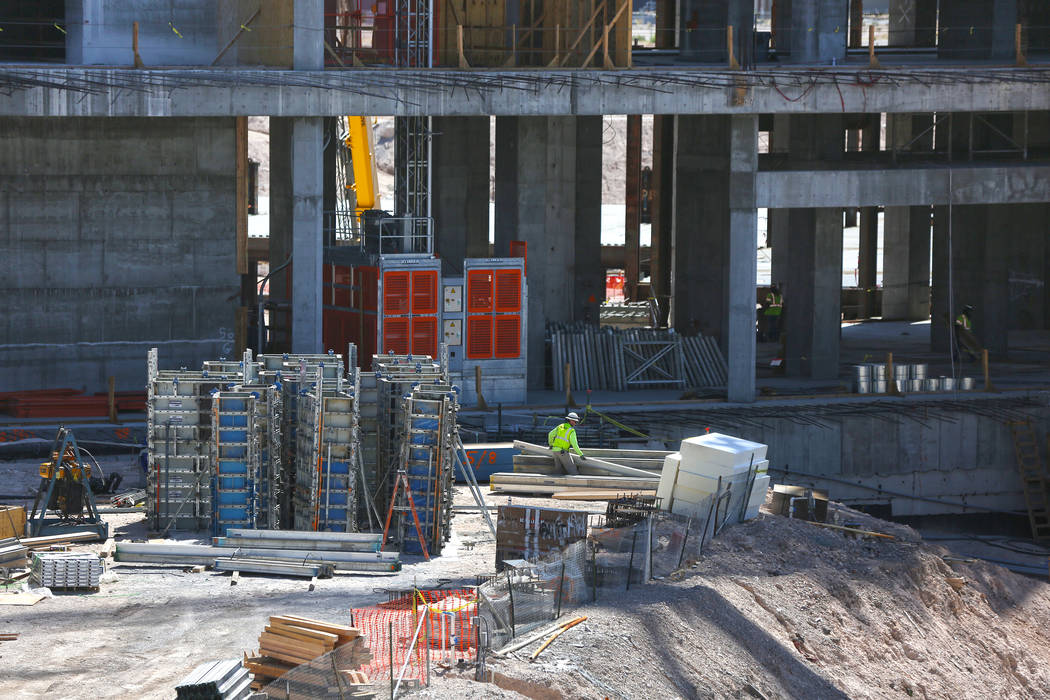Construction continues at the future site of Resorts World Las Vegas on April 13. (Benjamin Hager Las Vegas Business Press)
