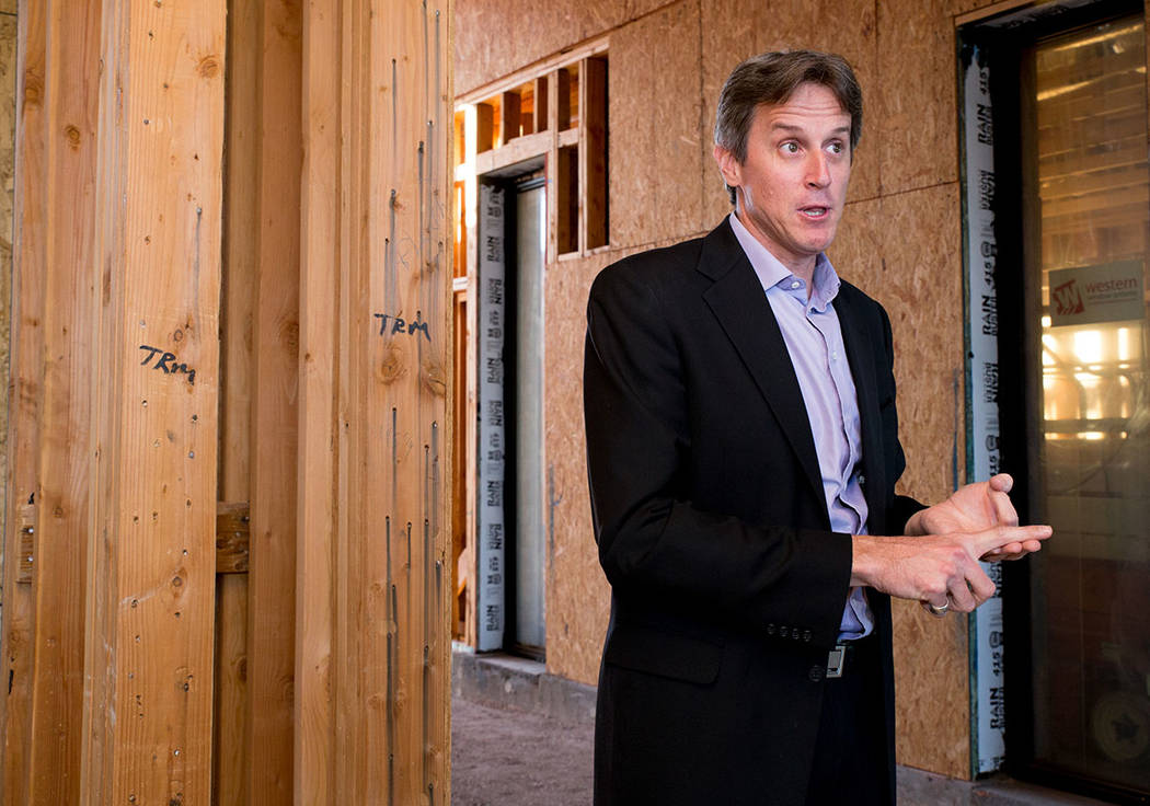 Michael Wetzel of Arizona-based Swaback Architects + Planners, talks about the thought behind designing the showcase home in Lake Las Vegas. (Tonya Harvey Las Vegas Business Press)