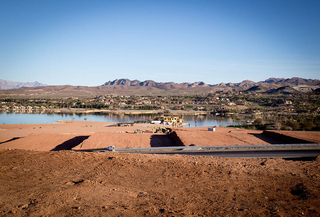 Construction is underway at Estates at Reflection Bay in Lake Las Vegas. (Tonya Harvey Las Vegas Business Press)