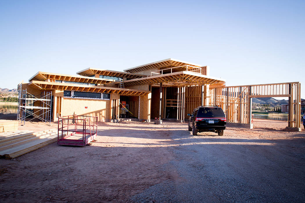 This showcase home is under construction Estates at Reflection Bay in Lake Las Vegas. (Tonya Harvey Las Vegas Business Press)