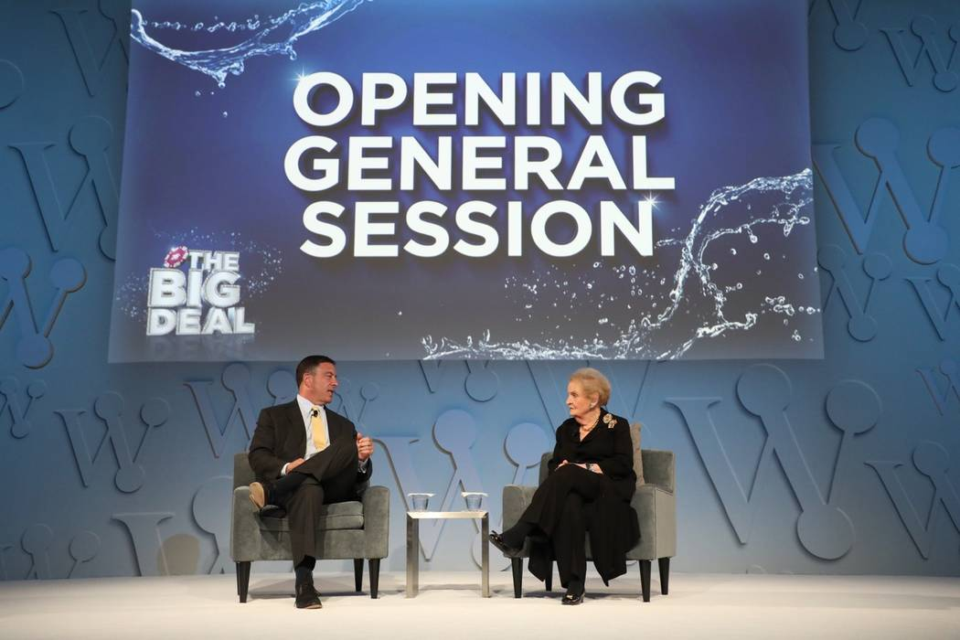Craig Wolf, WSWA president & CEO, and keynote speaker Madeleine Albright, former secretary of state, kick off the Wine & Spirits Wholesalers of America 75th Annual Convention & Exposition. (Wine & ...
