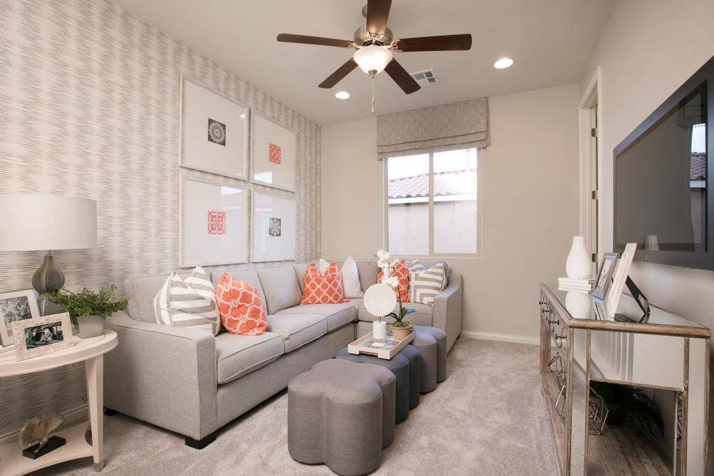 The living room in the Lillian model in Highland Hills. (Richmond American Homes)