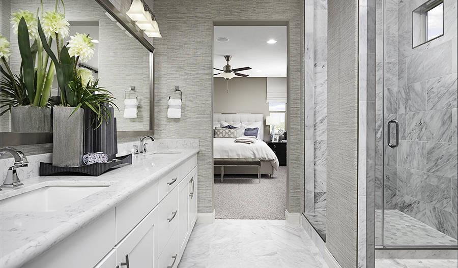 The master bath at Coronado at Coleburn at Highland Hills. (Richmond American Homes)