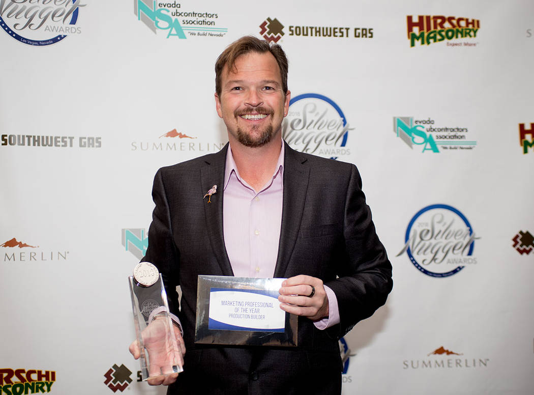 "James ""JJ"" Kingery, Richmond American Homes, won the Marketing Professional of the Year Award for a Production Builder. (Tonya Harvey Las Vegas Business Press)"