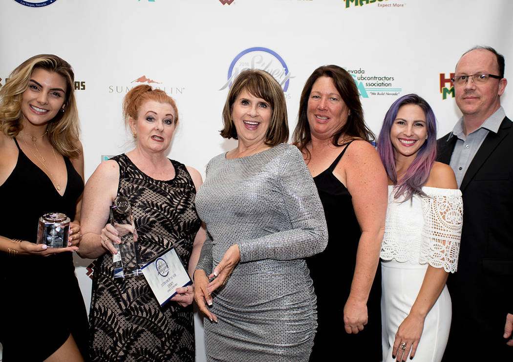 From left, Bridgette Slater, Patty Martinez, Donna Johnson, Wendy LaCrosse, Jennie Marsh and Lee Nave of Sun West Custom Homes. (Tonya Harvey Las Vegas Business Press)
