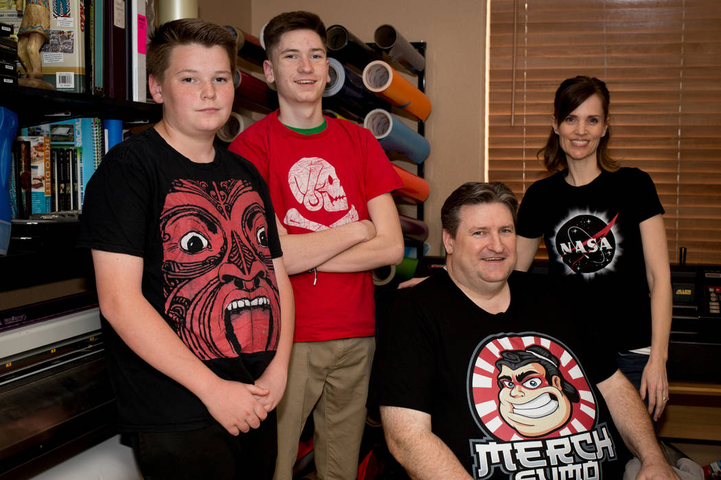Jake, 13, Brett, 17, Ken and Janalyn Reil. The family's T-shirt business has prospered on Merch by Amazon. (Tonya Harvey Las Vegas Business Press)