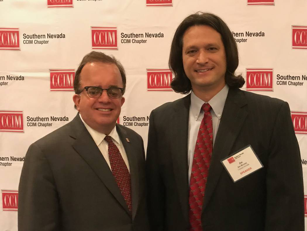 The 2018 Southern Nevada CCIM President Chris McGarey, left, stands with Joe Brezny of Carrara Nevada at the Westin Las Vegas. Brezny was the keynote speaker for CCIM's June luncheon on recreation ...