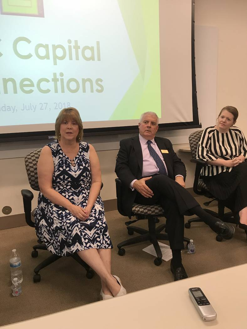 From left, Leanna Jenkins, executive director of the Nevada Business Opportunity Fund; Ken Mundt, senior vice president of Bank of Nevada; and Erin McDermott, director of lending partnerships for ...