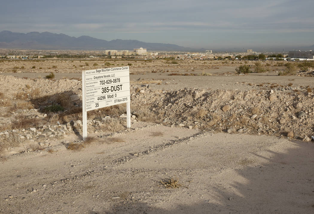 A 55-acre lot photographed in 2017 in Henderson shows the Raiders' future corporate headquarters and practice facility. (Bizuayehu Tesfaye Las Vegas Business Press)