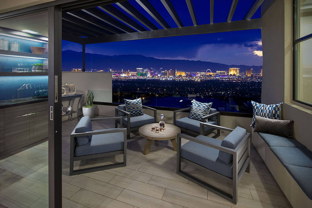The balcony overlooks the Strip. (Christopher Homes)