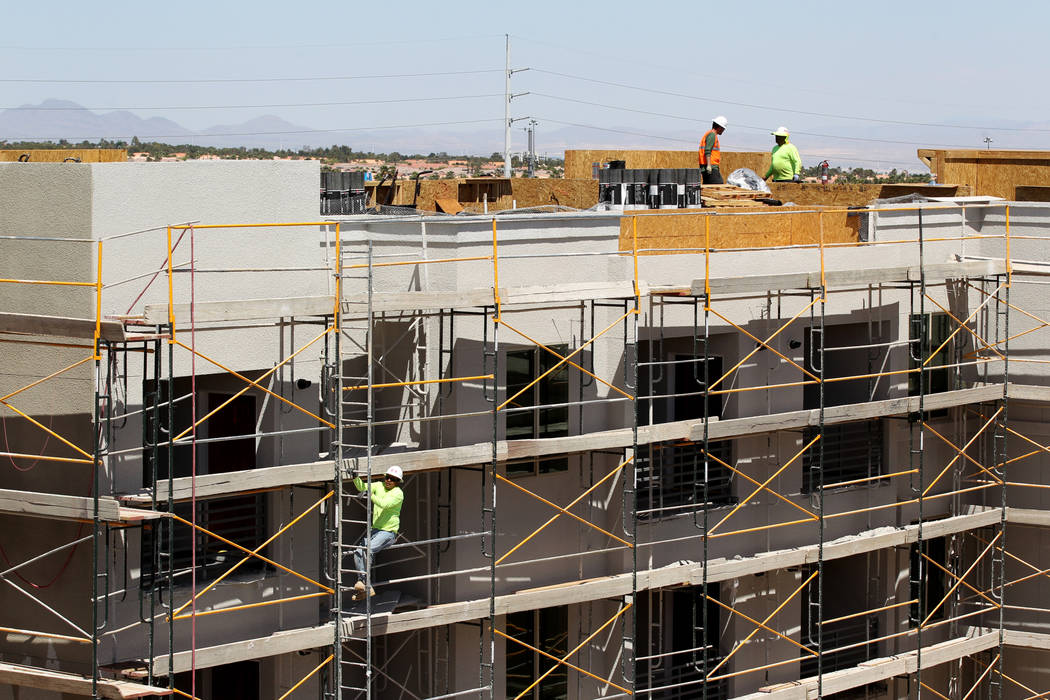 Construction on the 365-unit Elysian apartment complex on the southeast corner of Flamingo Road and Hualapai Way in Las Vegas in April. (K.M. Cannon Las Vegas Business Press)