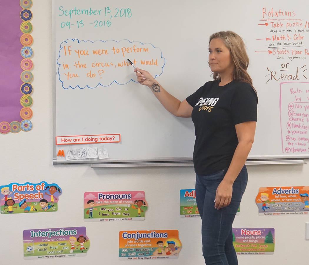 Las Vegas Realtor Christina Chipman volunteers in a Las Vegas classroom on Sept. 13. (GLVAR)