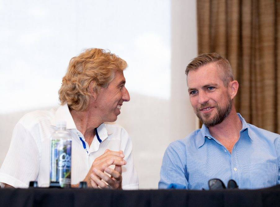 From left, Dan Coletti, owner of Sun West Custom Homes, and Tyler Jones, founder and owner of Blue Heron Design/Build talk during a Sept. 5 panel on luxury real estate. (Tonya Harvey Las Vegas Bus ...