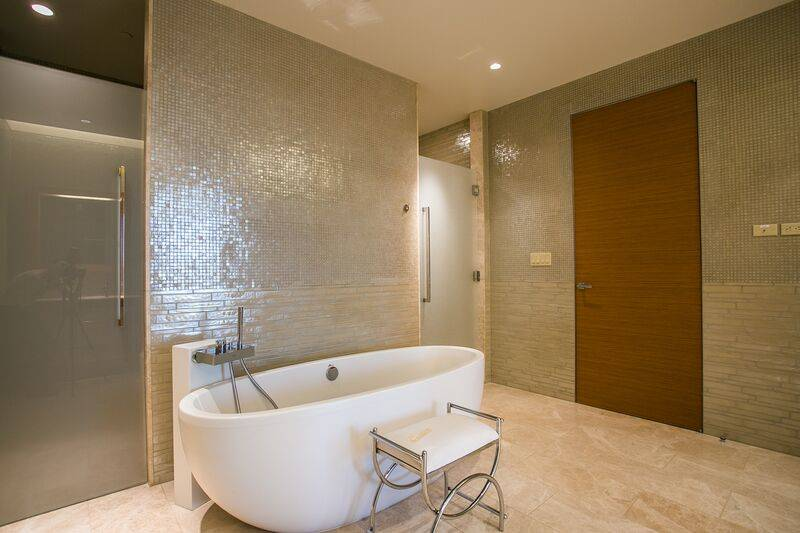 The master bath in a 45th-floor penthouse in the Waldorf Astoria on the Strip. (Waldorf Astoria)