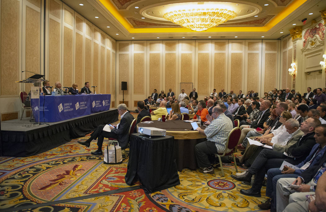Attendees of the Global Gaming Expo fill the room during a Monday panel talk. (Caroline Brehman Las Vegas Business Press)