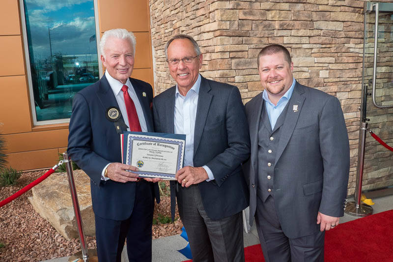 From left, Greater Las Vegas Association of Realtors 1985 Past President Jack Woodcock, Clark County Commissioner Jim Gibson and 2018 GLVAR President Chris Bishop attended the Oct. 11 grand openin ...