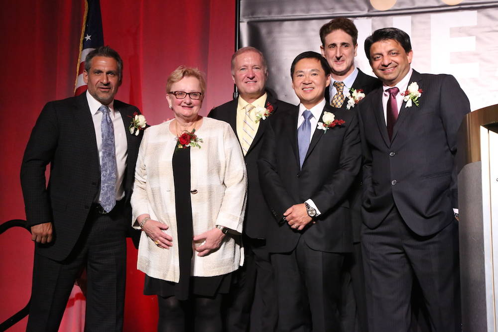From left, David Marlon, Dr. Deborah Kuhls, Dr. Lindsay Hanson, Dr. Eddy Luh, Dr. Mark Winkler and Dr. Rupesh Parikh received awards at the seventh annual Excellence in Healthcare Awards on Oct. 25.