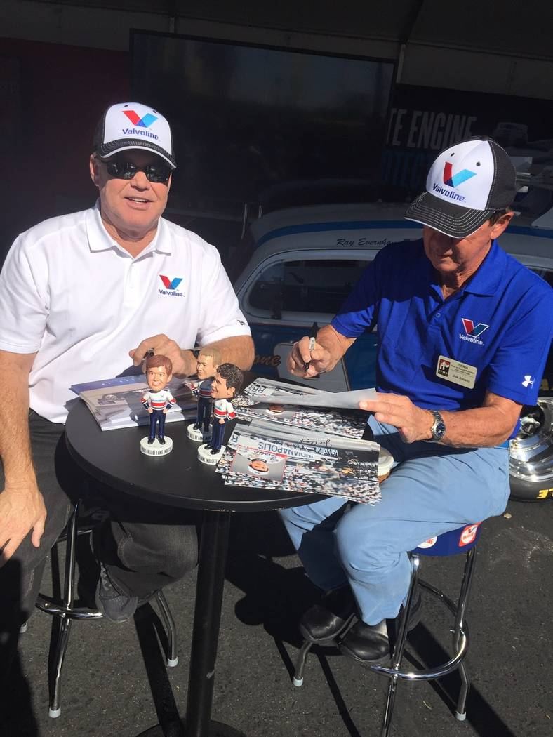 From left is former Indy Car Driver Al Unser Jr. and retired National Hot Rod Association competitor Joe Amato at the recent Specialty Equipment Market Association show.
