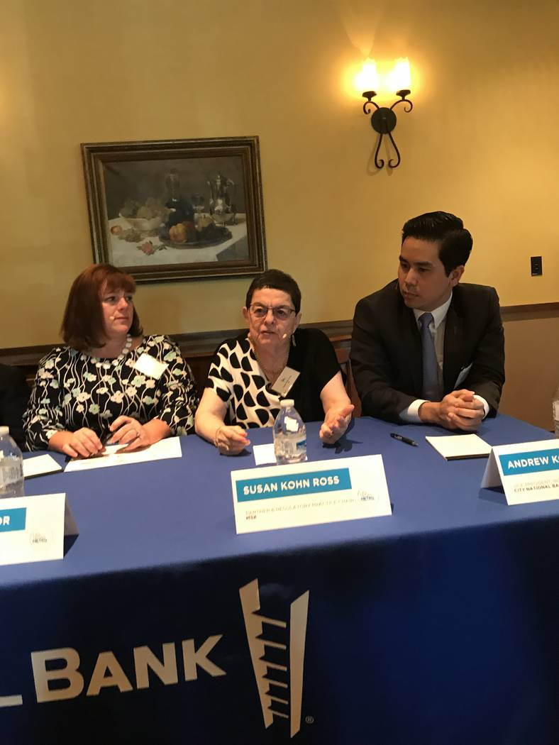 Susan Kohn Ross, a Los Angeles-based attorney with Mitchell, Silberberg & Knupp, center, talks about how a trade war will affect local businesses. (Buck Wargo/Las Vegas Business Press)