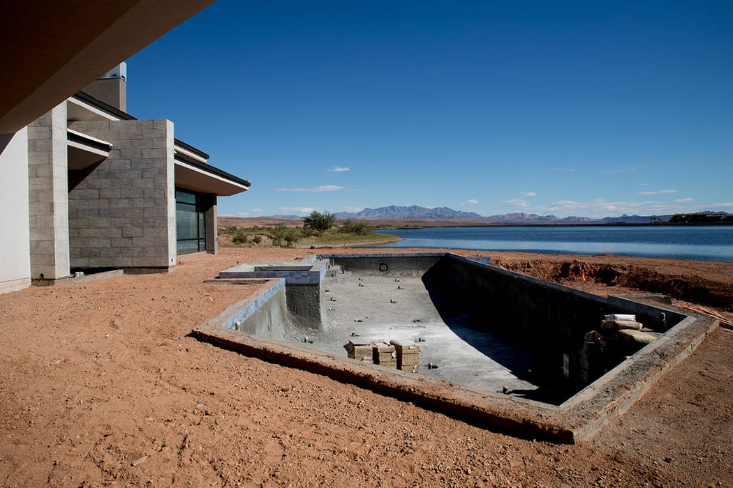 The Lake Las Vegas showcase home, which is under construction, will have a pool by the lake. (Tonya Harvey Las Vegas Business Press)