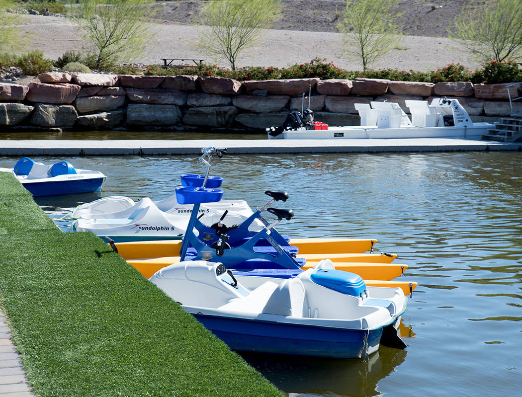 Residents and visitors can rent small boats at Lake Las Vegas. (Tonya Harvey Las Vegas Business Press)