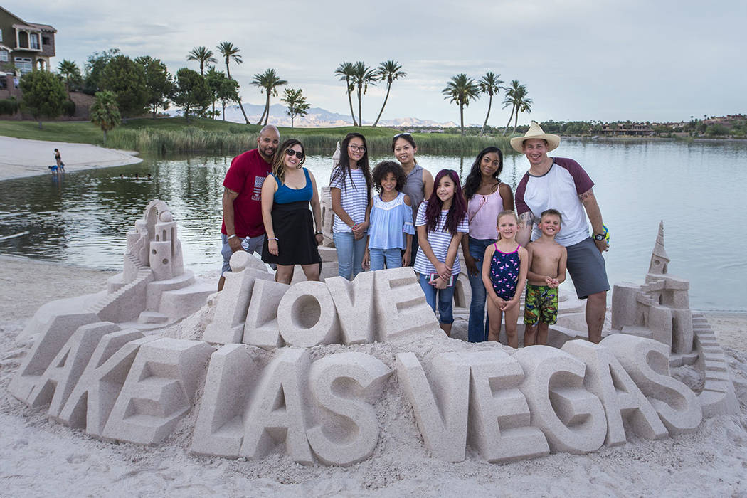 Lake Las Vegas residents build sand art at the beach. (Lake Las Vegas)