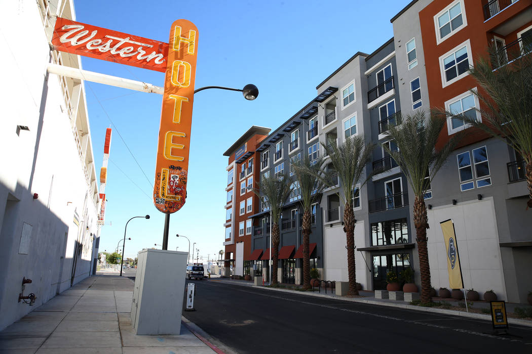 Fremont9, a new apartment complex in downtown Las Vegas at Fremont and 9th streets, opened earlier this year. (Erik Verduzco/The Las Vegas Business Press)