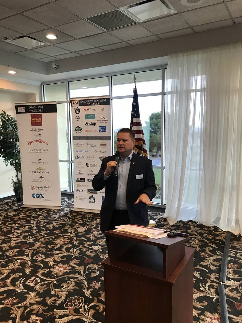 Kevin Budny, general manager of Galleria at Sunset, addresses Henderson Chamber of Commerce members Dec. 11 on the the future of retail.