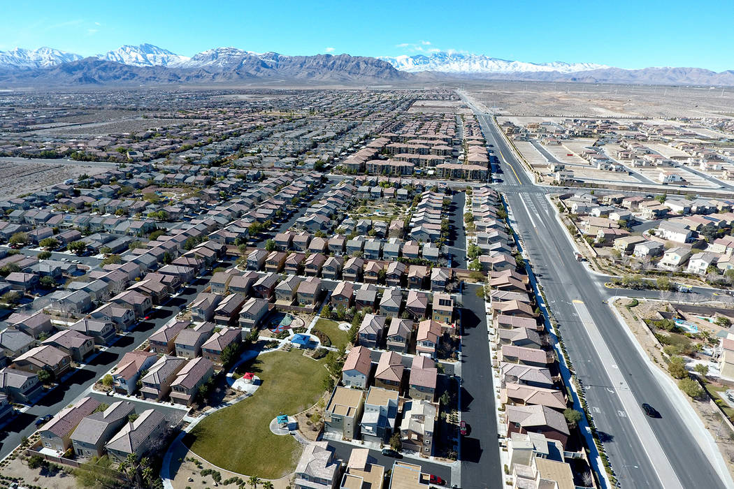 Aerial view of the Brookhaven housing development in northwest Las Vegas near Grand Teton Drive and Tee Pee Lane Jan. 26, 2017. (Michael Quine/Las Vegas Business Press)
