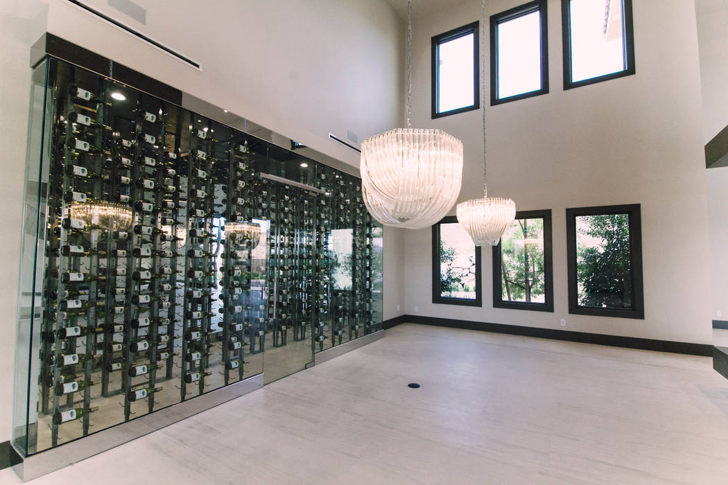 The wine room at the estate at 27 Shadow Canyon Court. (Growth Luxury Homes)