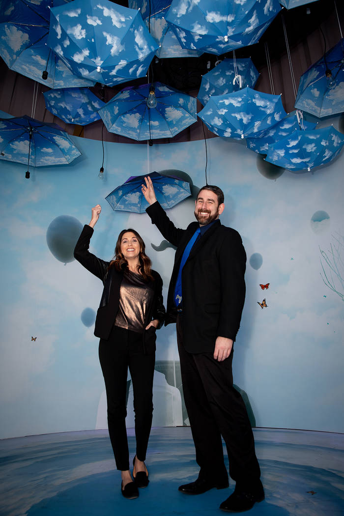 DBD creates décor with its own in-house fabrication and carpentry transforming ballrooms for parties and other events. Here, owners Joyce Sherman Nelson and James Nelson show off a recent display ...