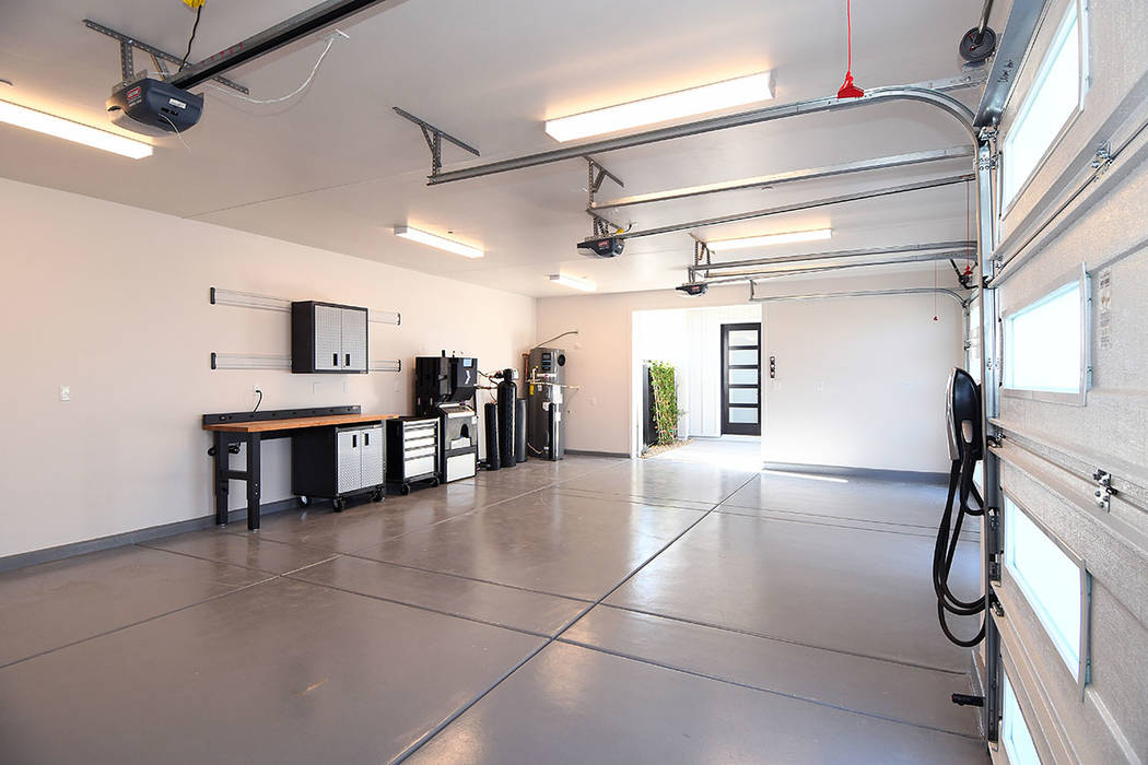 The garage houses a gray-water filtering and collection system. (KB Home)