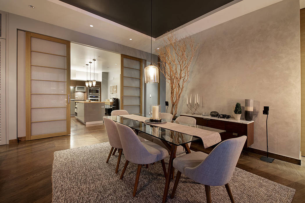 The dining room in unit 4504 in Waldorf Astoria. (Acclaim)